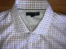 Banana Republic Mens Striped Long Sleeve Pink/ Blue Shirt L 16-16.5 Slim Fit