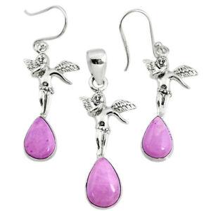 925 Silver 7.02cts Natural Purple Phosphosiderite Pendant Earrings Set R70011