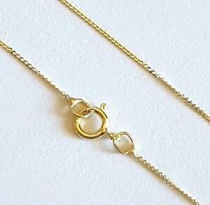 "100% GENUINE 9ct 9k 375 Yellow Gold 40cm 16"" Diamond cut CURB Chain Necklace"
