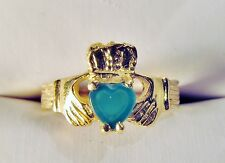 14K Gold Claddagh Irish Love Wedding Band Ring w/Chrysoprase Heart