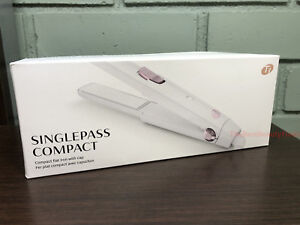 T3 SinglePass Compact Flat Iron - White  Dual Voltage Travel Flat Iron