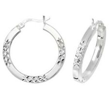 925 Sterling Silver Ladies Earrings Diamond Cut Tube Hoops Creole 20MM 3.7gr