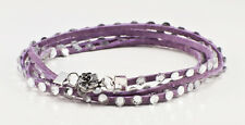 Lavender Leather and Swarovski Crystal multi wrap bracelet w/clear crystals