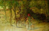 SHEPHERD WITH HIS CHILDREN. OIL ON TABLE. CATALAN SCHOOL. SPAIN. XIX CENTURY