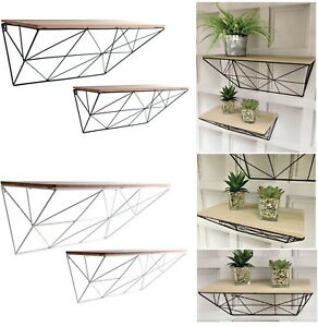 Set Of 2 Retro Metal Wire Wooden Wall Mounting Display Shelve Shelf Storage Unit