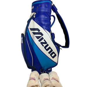Mizuno Golf Staff Bag Blue/White Leather w/Mizuno Golf Covers.