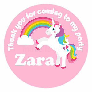 Personalised Unicorn Stickers Pink Birthday Party Bag Sweet Cone Glossy