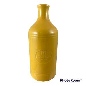 """Emile Henry France Williams Sonoma Stoneware Yellow Vase 7"""" High Kitchen Decor"""
