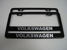 (2) BLACK Coated Metal License Plate Frame - VOLKSWAGEN VW