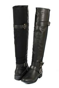 Black Awesome Urban Mix Media Over the Knee Thigh High Flat Boots Stretch