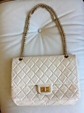 Genuine Chanel 2.55 White Cream Distressed Quilted Leather Reissue 227 Bag +card