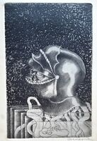 Cuban Art. Chalcography by Roger Aguilar. Untitled, ca 1970. Original signed.