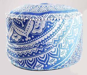 Mandala Ottoman Cover Indian Round Cotton Pouffe Ethnic Decorative Pouf Cover 22