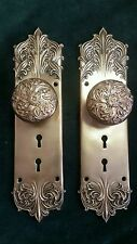 AWESOME SET OF ANTIQUE CAST BRONZE/BRASS DOOR KNOBS AND BACKPLATES  #X2