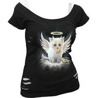 SPIRAL DIRECT 'KITTEN ANGEL' 2in1 Ripped WhtBlk Top,Ladies/Girls/Kitten/Cat/Goth