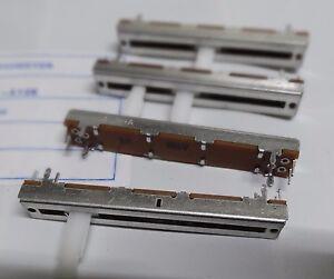 4 x Alpha 10K log  stereo slider pot 60mm long 45mm travel RA4522-202-15DA-A10K