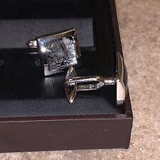 New in Box NIB Dunhill Cufflinks .925 Sterling Silver Rare Broken Glass Square