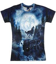 Espíritu Lobo Luna T-Shirt (Cool Tie Dye Wolf todo Camiseta de impresión)