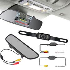 5'' LCD HD Car Rear View Monitor Mirror + Wireless IR Night Vision Backup Camera