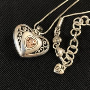 Brighton Silver Filigree Puffy Heart Pink Crystal Reversible Pendant Necklace 14