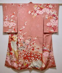 JAPANESE KIMONO SILK ANTIQUE HOUMONGI / FLOWER & PEACOCK / VINTAGE SILK FABRIC