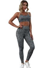 Grey leopard print gym legging set sport set yoga running set size XL, UK 14