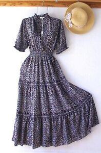 New~$148~Black & White Peasant Prairie Tiered Ruffle Boho Dress~Size Large L