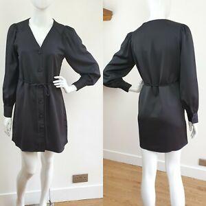 Mango Black Satin Shirt Dress Long Sleeve M 10 12 Belted bow v neck button up