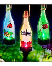 Set Of 3 Solar Bottle Lights A Fantastic Lantern Feature A Great Garden Feature.