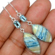 Blue Scheelite - Turkey & Blue Topaz 925 Silver Earrings Jewelry AE162540