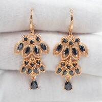18K Yellow Gold Filled Women Black Mystic Topaz Luxury Dangle Earrings For Party