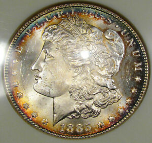 1885 Morgan Silver Dollar NGC MS-64..Beautiful Coin with Rim Toning, Eye Appeal!
