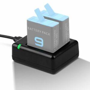 Für GoPro HERO 9 Black Dual Akku Lade Station USB Batterie Ladestation NEU