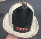 Vintage Cairns & Brothers Leather Fire Helmet With Leather Badge FVFD