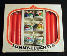 Funny-Leuchter Porcelain Candle Holder Set With Candles  Made in West Germany