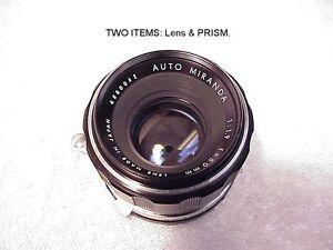 2 items: Miranda Sensorex Prism & 50mm f1.9 Auto Miranda Lens | Tested | USA |