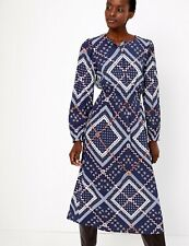 M&S COLLECTION  Patchwork Printed Waisted Midi Dress  PRP £45