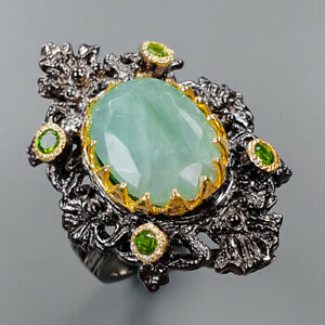 Fine art Jewelry Emerald Ring Silver 925 Sterling  Size 7.25 /R151110