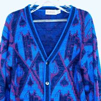 Vtg 90s McGregor Cardigan Sz M Knit Sweater Cosby Hip Hop Biggi Abstract