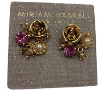 "$42 Miriam Haskell  Purple Flower Button 1.1"" Earrings H2"