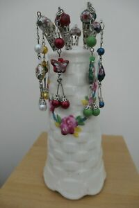 Six Beaded Hat Pins with Ceramic vintage holder Czechoslovakia