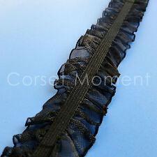 Black Elastic Ruffle Lace Trim Lingerie Craft Sewing Trimming Fabric 2.5cm Wide