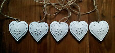 Bunting Vintage Chic Decorative Hanging Hearts Garland Bunting White Cream Metal