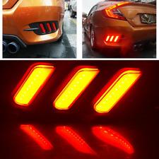 2x LED Rear Bumper Lamp Reflector Tail Brake Lights For Honda Civic 2016 2017