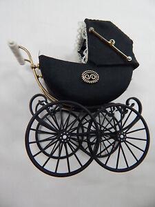 Heidi Ott Dollhouse Miniature 1:6 Scale Doll's Pram Satin Black #XZ101