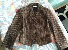 COLDWATER CREEK Cropped Blazer PETITE 4 Brown Gold Tweed Button Up, Lined