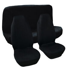 Solid Black Flat Cloth Car Seat Covers Complete Full Set For Auto Vehicles