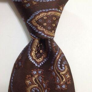 TED BAKER London Men's 100% Silk Necktie USA Designer PAISLEY Brown/Purple EUC