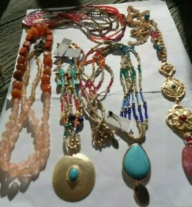 5 CHICO'S Jewelry NECKLACE LOT Pink, Blue Coral Gemstone Pendant Gold Tone  NWT