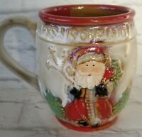 Santa Coffee Mug Cup Hand Crafted Bless Us One and All KCare